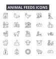animal feeds line icons for web and mobile design vector image vector image