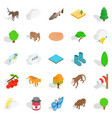 animal world icons set isometric style vector image