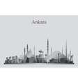 Ankara city skyline silhouette in grayscale vector image vector image