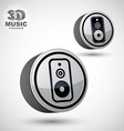 Audio speaker 3d round icon isolated vector image