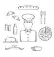 Baker profession and ingredients sketches vector image vector image