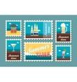 Bar beach stamp set Summer Vacation vector image vector image