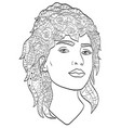 beautiful sketch girl with long hair coloring vector image