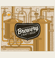 beer banner with production line of retro brewery vector image vector image