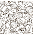 black and white seamless pattern with red pepper vector image