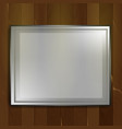 blank big frame on wall brown wood background vector image vector image