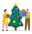 christmas holiday people giving gifts on xmas vector image vector image