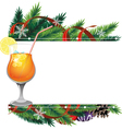 Cocktail and pine branches vector image vector image