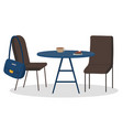 coffee and cake on table cafe interior vector image vector image