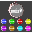 Computer keyboard and mouse Icon Set colourful vector image vector image