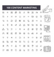 content marketing editable line icons 100 vector image vector image