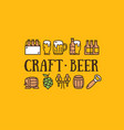 craft beer design template contour lines icon vector image