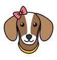 cute dog face simple black outline head isolated vector image vector image