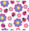 cute flower and ladybug seamless pattern vector image