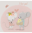 cute mouse couple vector image