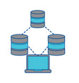 databases with laptop data center icon image vector image vector image