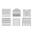 decorative black wrought iron gates set vintage vector image