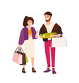 funny couple carrying shopping bags and boxes vector image vector image