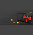 gift box black color and red bow ribbon banners vector image vector image