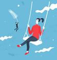 girl on swing cartoon style vector image vector image