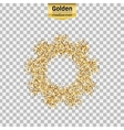 Gold glitter icon of gear wheel isolated on vector image