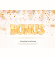 golden bonus word banner for gambling vector image vector image