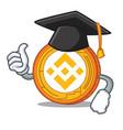 graduation binance coin character catoon vector image vector image