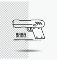 gun handgun pistol shooter weapon line icon on vector image