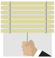 hand closes blinds vector image vector image