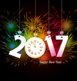 Happy New Year clock and Fireworks colorful vector image vector image