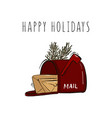 happy new year merry christmas postbox with mails vector image vector image