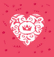 happy valentines day - greeting card with crown vector image vector image