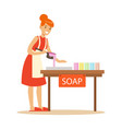happy young woman making homemade soap craft vector image vector image