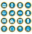 household appliances icons blue circle set vector image