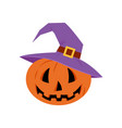 jack-o-lantern cute pumpkin in a hat halloween vector image