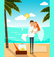 just married couple went to the beach after vector image vector image