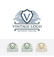 logo of vintage shield with letter v vector image