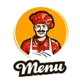 menu logo restaurant cafe or cook chef vector image
