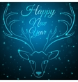 Merry Christmas blue deer head vector image