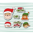 merry christmas with stickers faces of santa claus vector image vector image