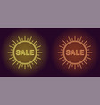 neon icon of yellow and orange sale badge vector image vector image