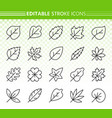organic leaf simple black line icons set vector image vector image