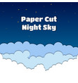 paper cut with night skycloud vector image