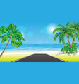 road to tropical beach with palm trees vector image