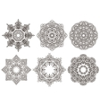 Set of 6 hand drawn oriental mandala vector image vector image