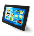 tablet pc with icons vector image vector image