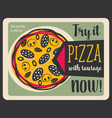 tasty pizza with mushrooms and sausages vector image