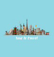travel journey concept famous sights countries vector image