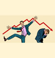 two businessmen different emotions bankruptcy vector image vector image