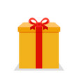 yellow flat present box with red bow vector image vector image